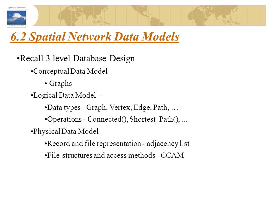 6.2 Spatial Network Data Models