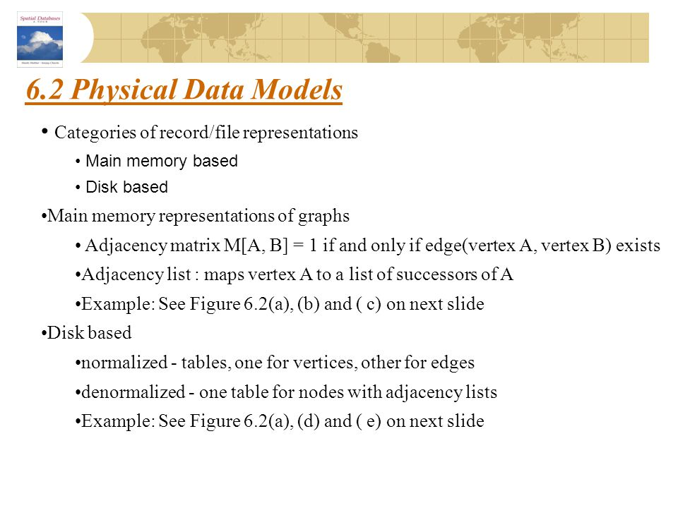 6.2 Physical Data Models Categories of record/file representations