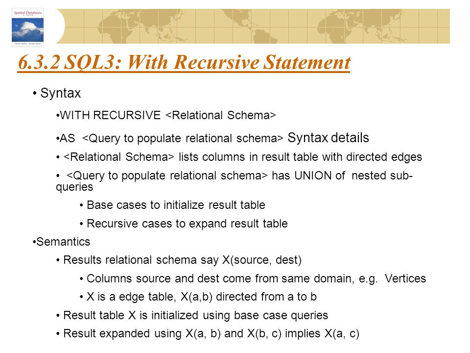 6.3.2 SQL3: With Recursive Statement