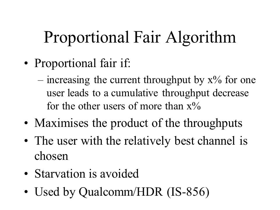 Proportional Fair Algorithm