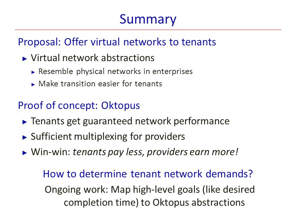 How to determine tenant network demands