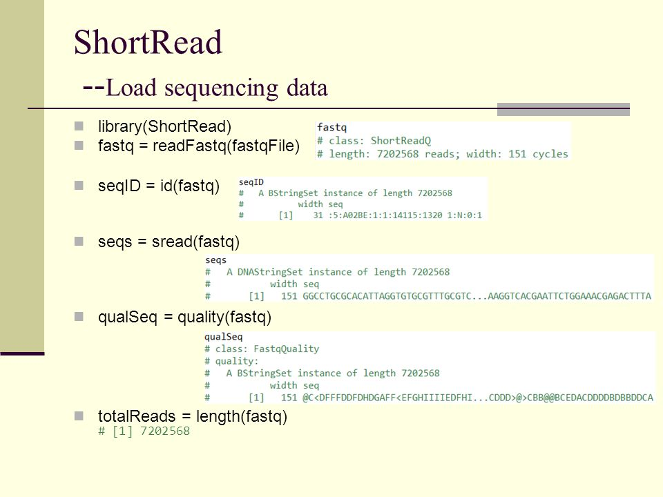 ShortRead --Load sequencing data