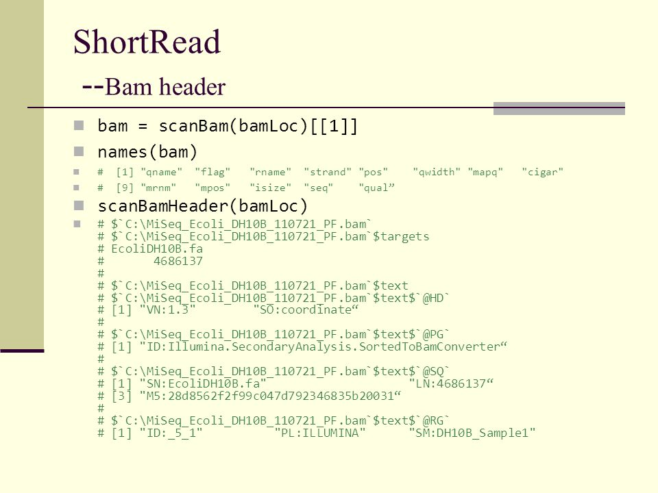 ShortRead --Bam header