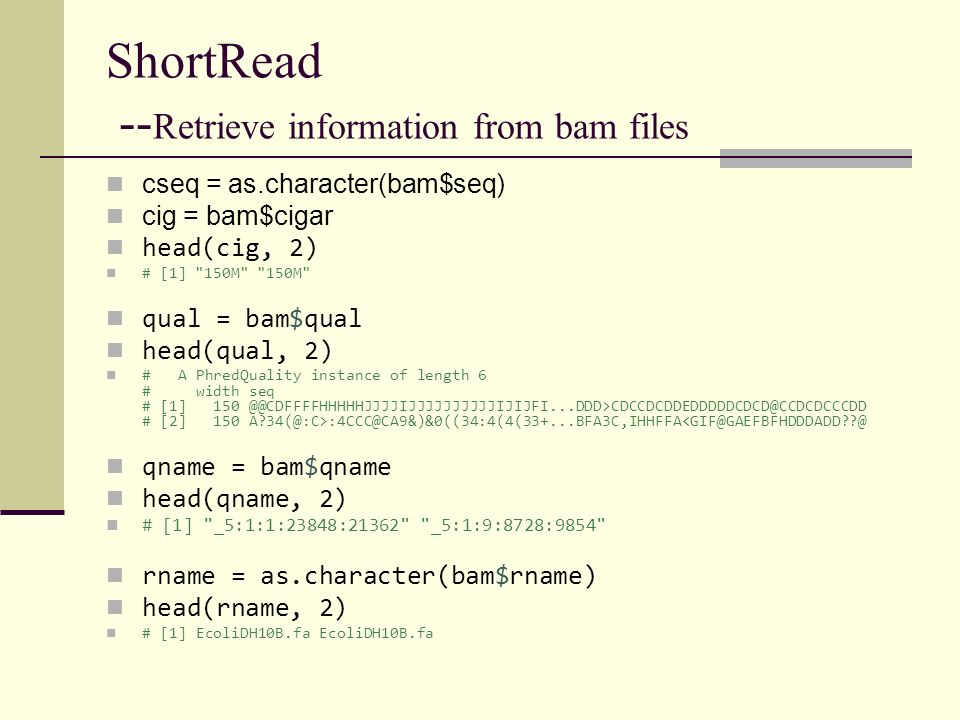 ShortRead --Retrieve information from bam files