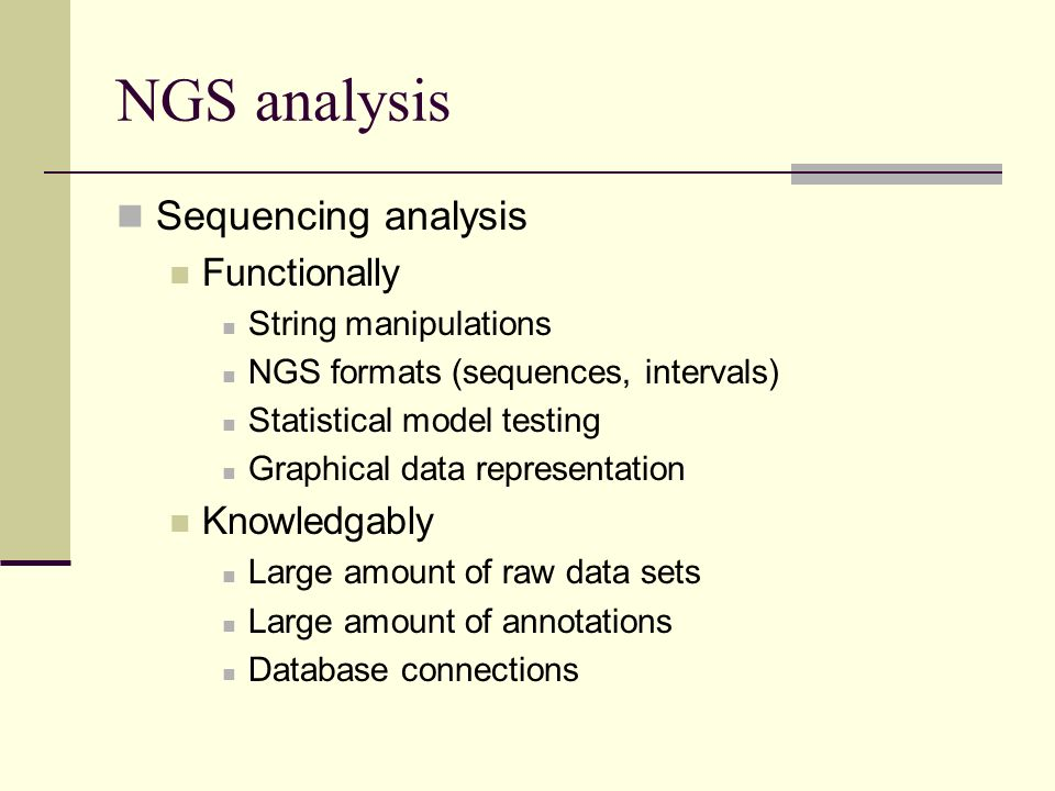 NGS analysis Sequencing analysis Functionally Knowledgably