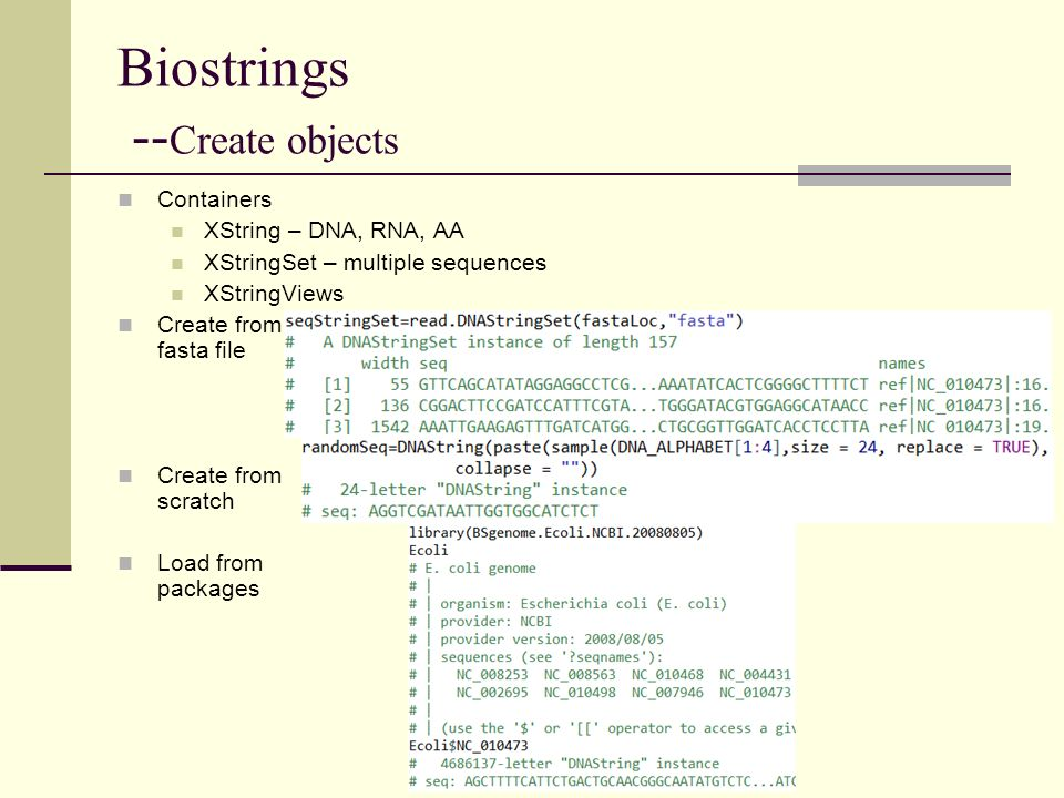 Biostrings --Create objects