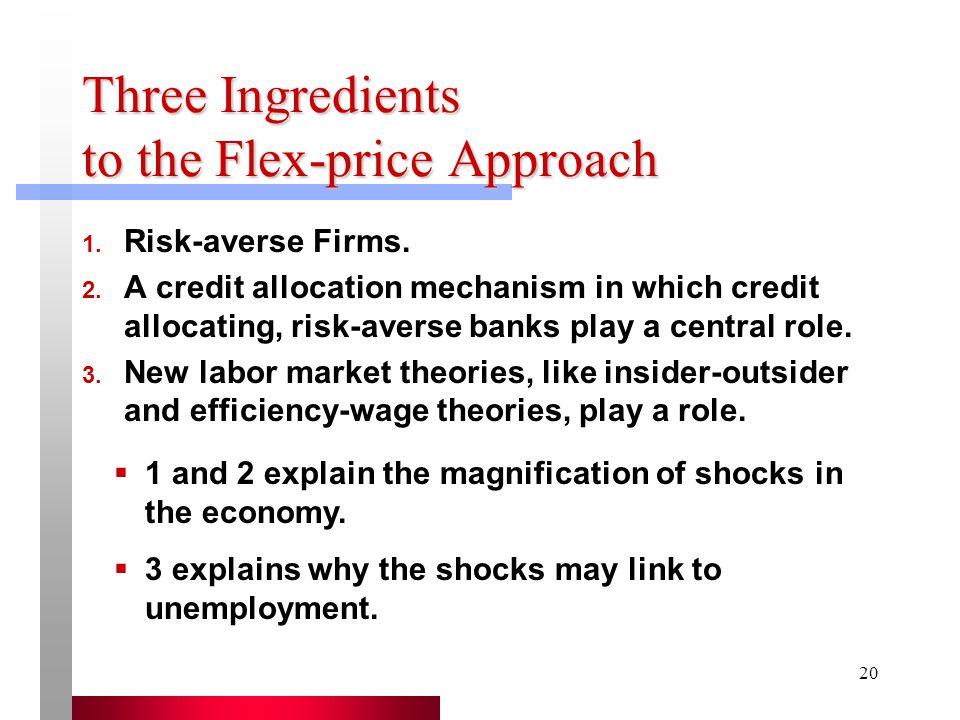 Three Ingredients to the Flex-price Approach