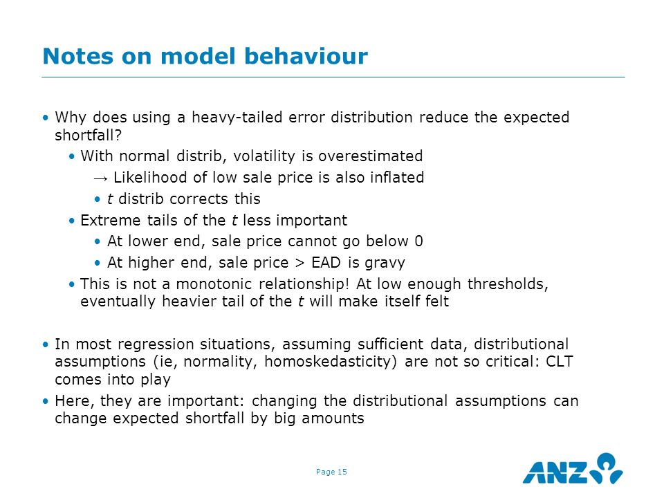 Notes on model behaviour