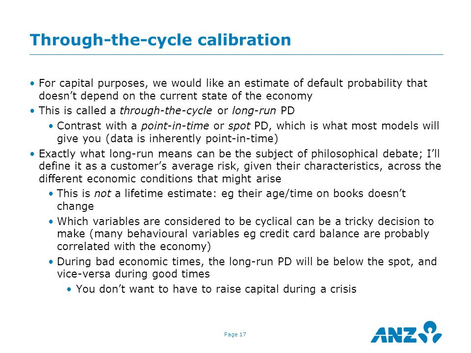 Through-the-cycle calibration