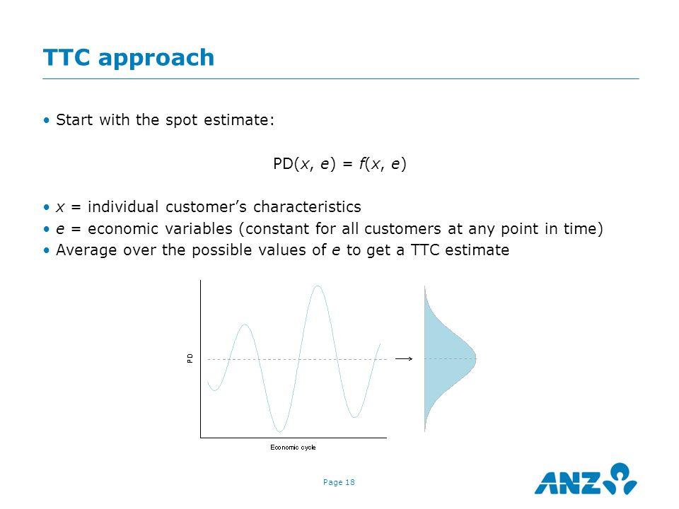 TTC approach Start with the spot estimate: PD(x, e) = f(x, e)