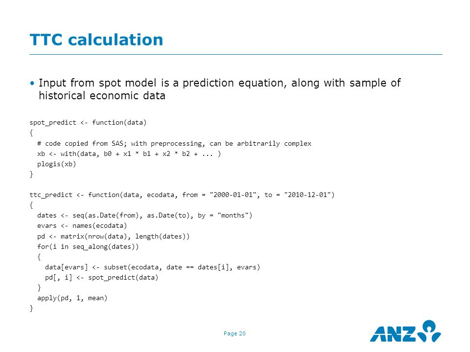 TTC calculation Input from spot model is a prediction equation, along with sample of historical economic data.