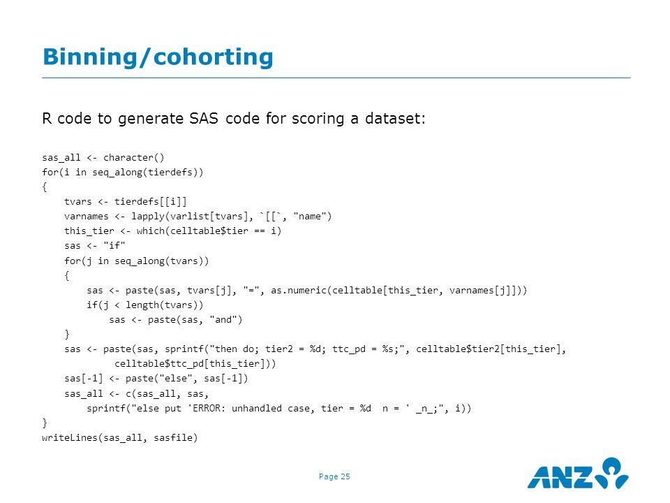 Binning/cohorting R code to generate SAS code for scoring a dataset: