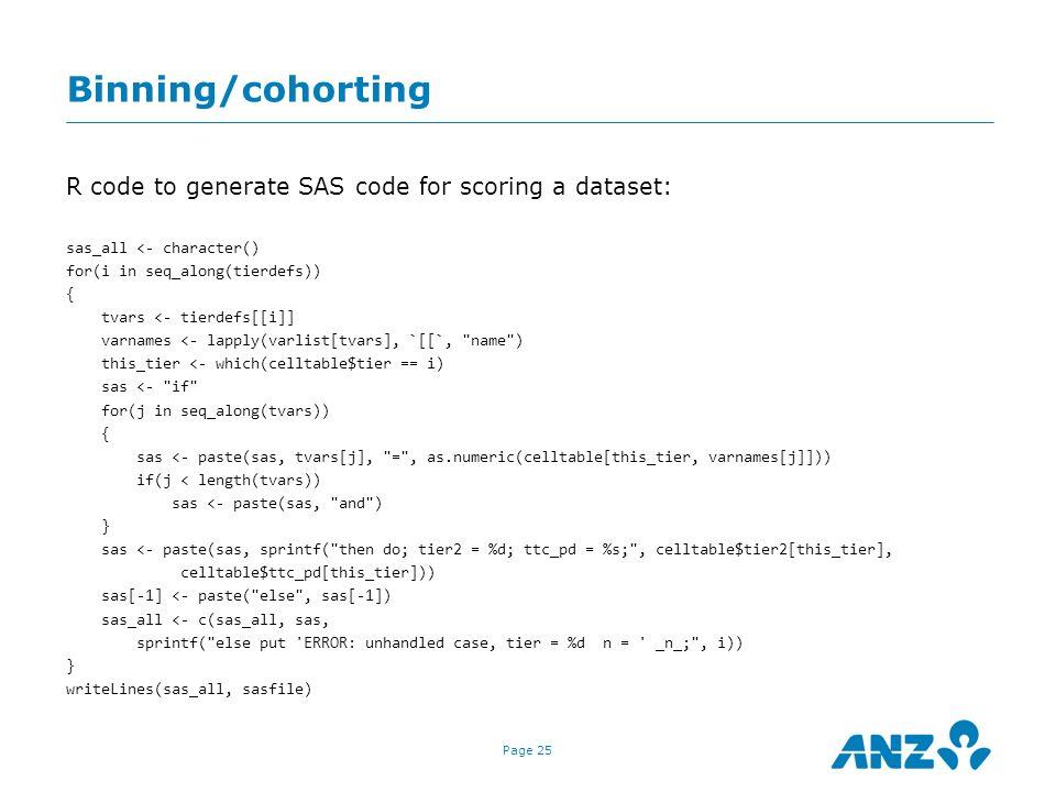 Binning/cohorting R code to generate SAS code for scoring a dataset:
