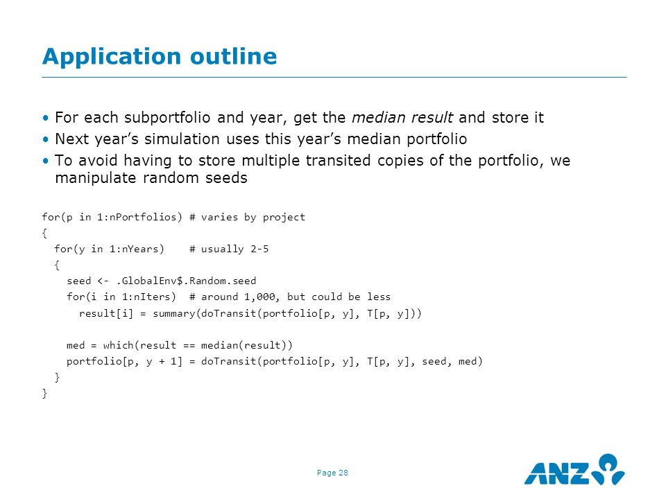Application outline For each subportfolio and year, get the median result and store it. Next year's simulation uses this year's median portfolio.