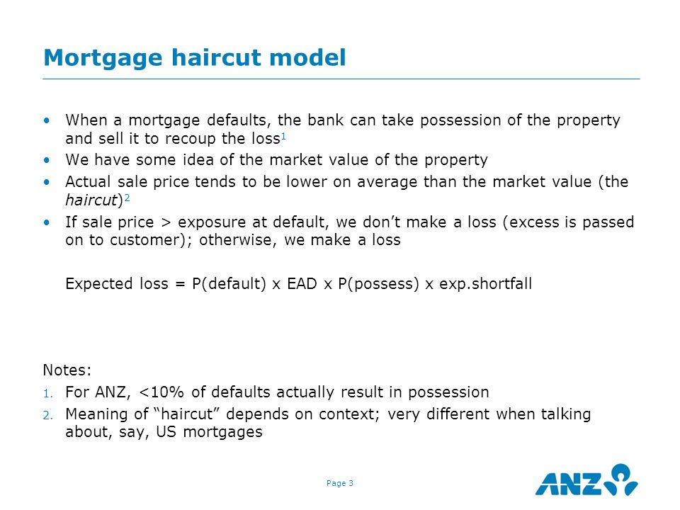 Mortgage haircut model