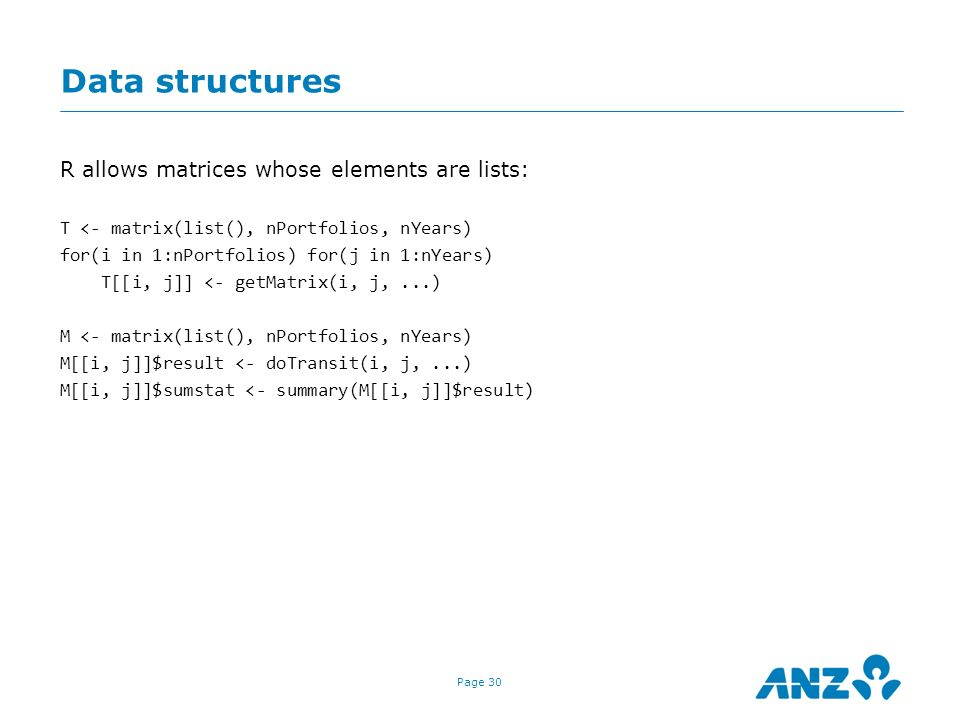 Data structures R allows matrices whose elements are lists:
