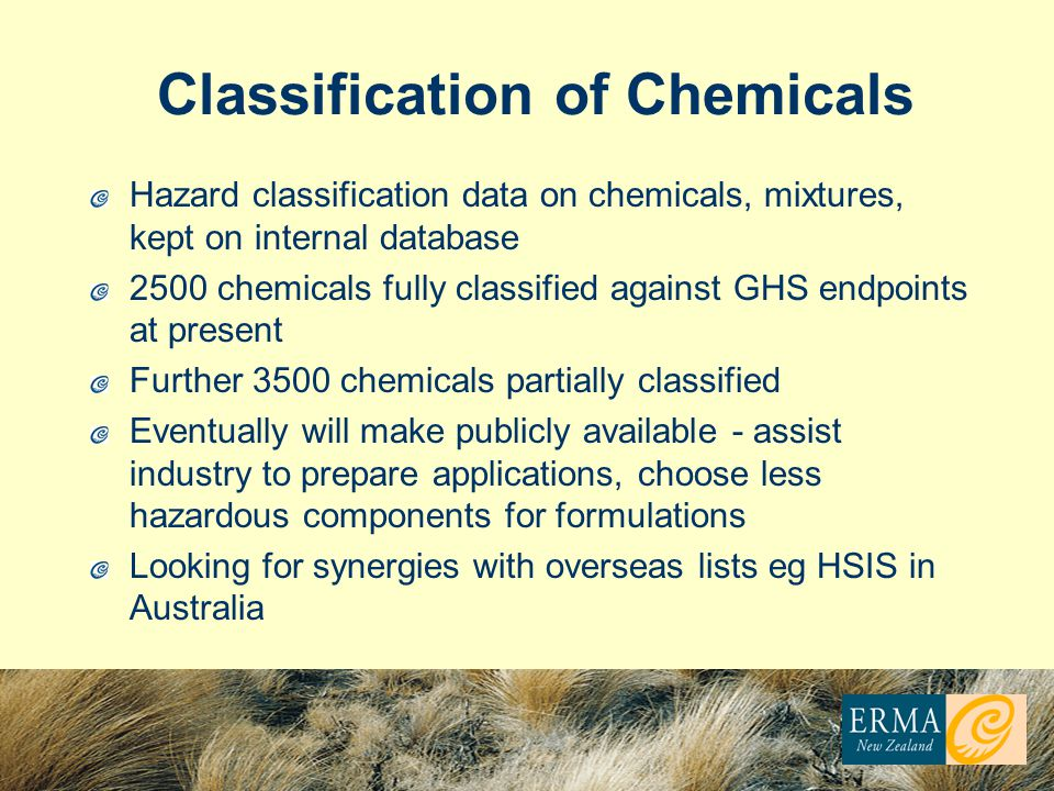 Classification of Chemicals