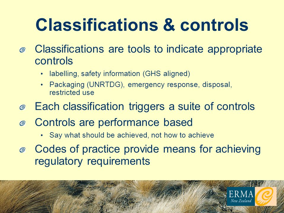 Classifications & controls