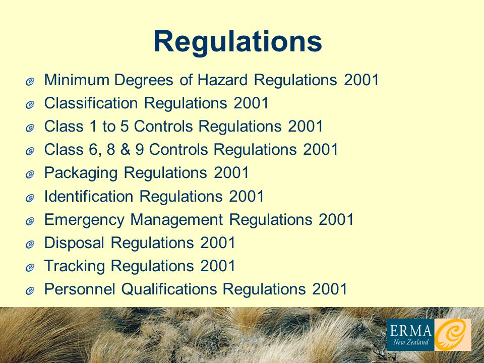 Regulations Minimum Degrees of Hazard Regulations 2001