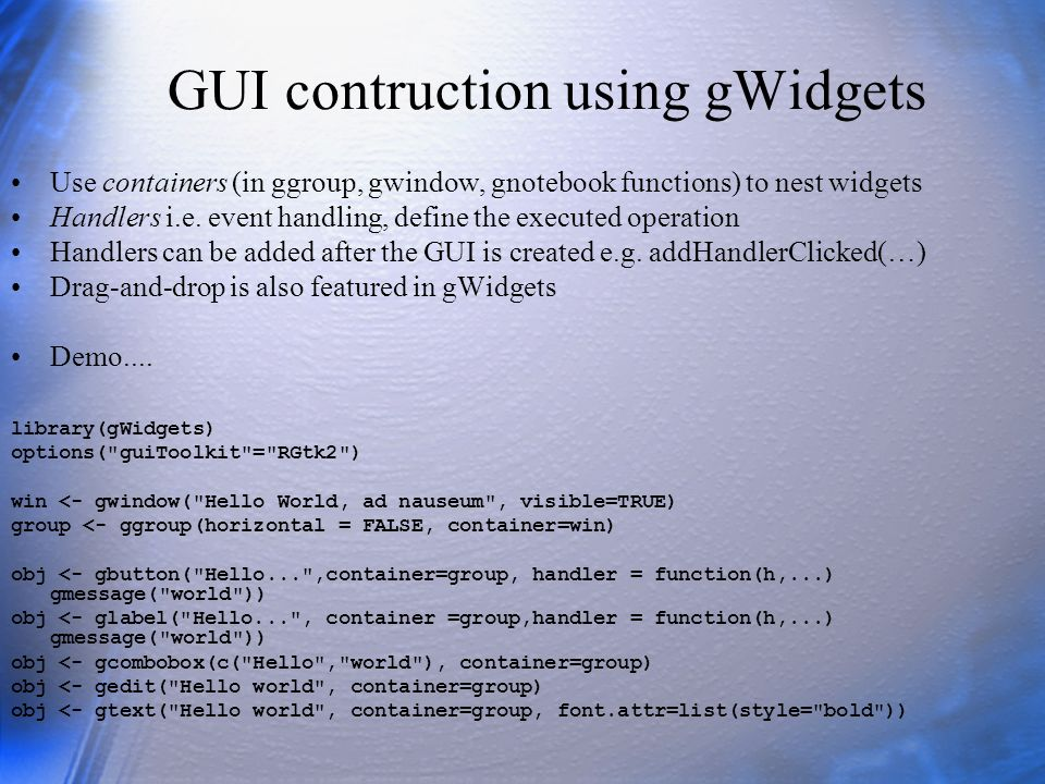 GUI contruction using gWidgets