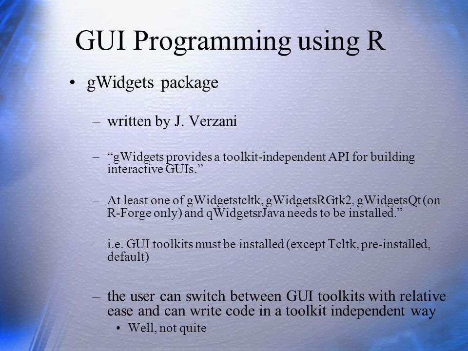 GUI Programming using R