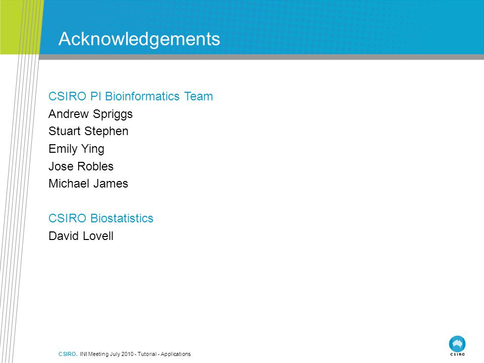 Acknowledgements CSIRO PI Bioinformatics Team Andrew Spriggs