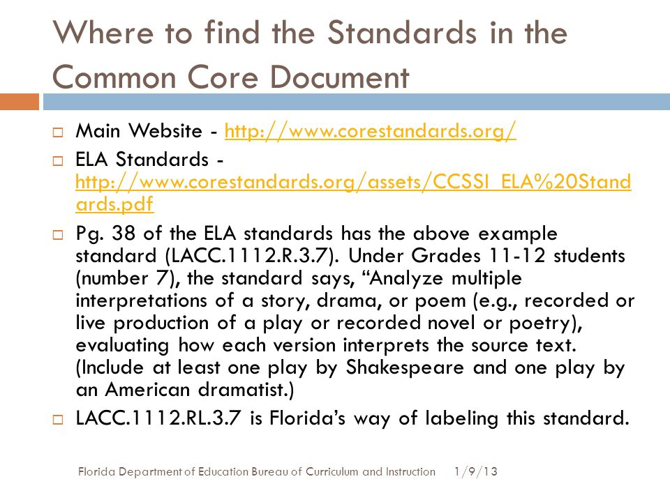 Where to find the Standards in the Common Core Document
