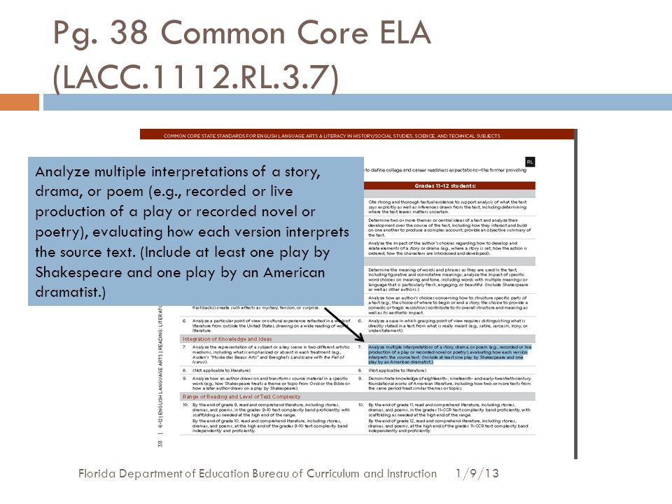 Pg. 38 Common Core ELA (LACC.1112.RL.3.7)