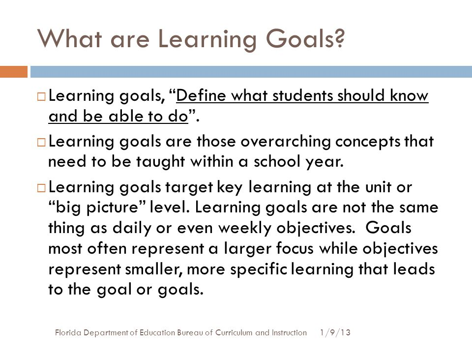 What are Learning Goals