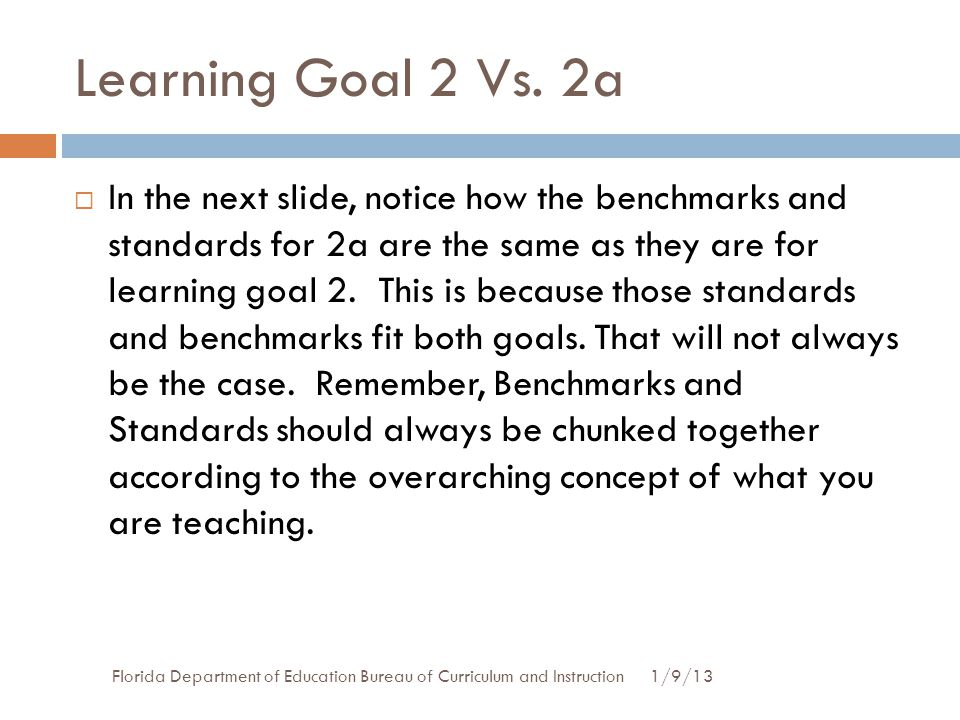 Learning Goal 2 Vs. 2a