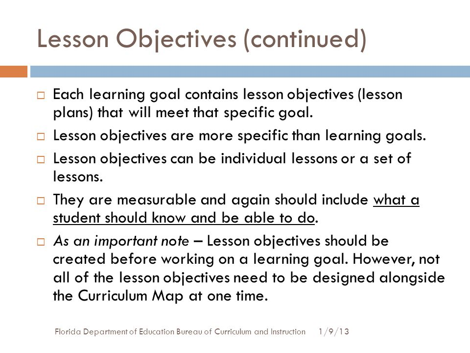 Lesson Objectives (continued)