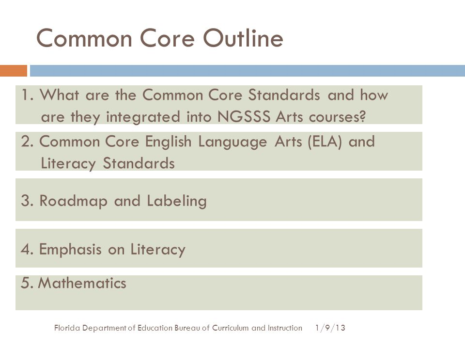 Common Core Outline 1. What are the Common Core Standards and how are they integrated into NGSSS Arts courses