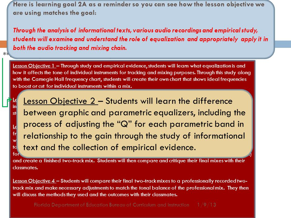 Sample Lesson Objectives to meet Learning Goal 2a