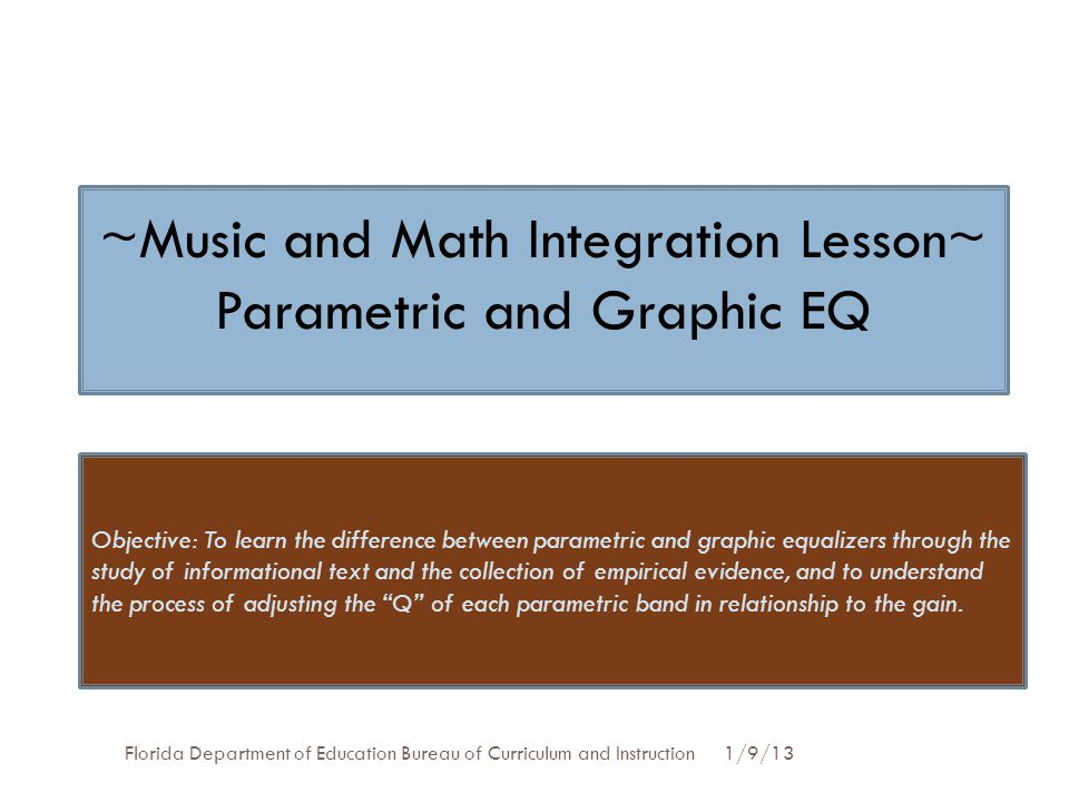 ~Music and Math Integration Lesson~ Parametric and Graphic EQ