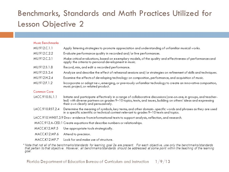 Benchmarks, Standards and Math Practices Utilized for Lesson Objective 2