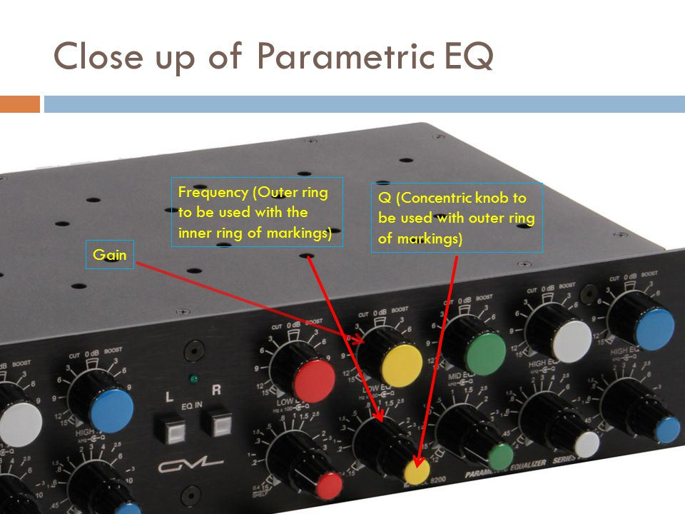 Close up of Parametric EQ