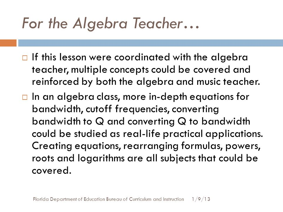 For the Algebra Teacher…