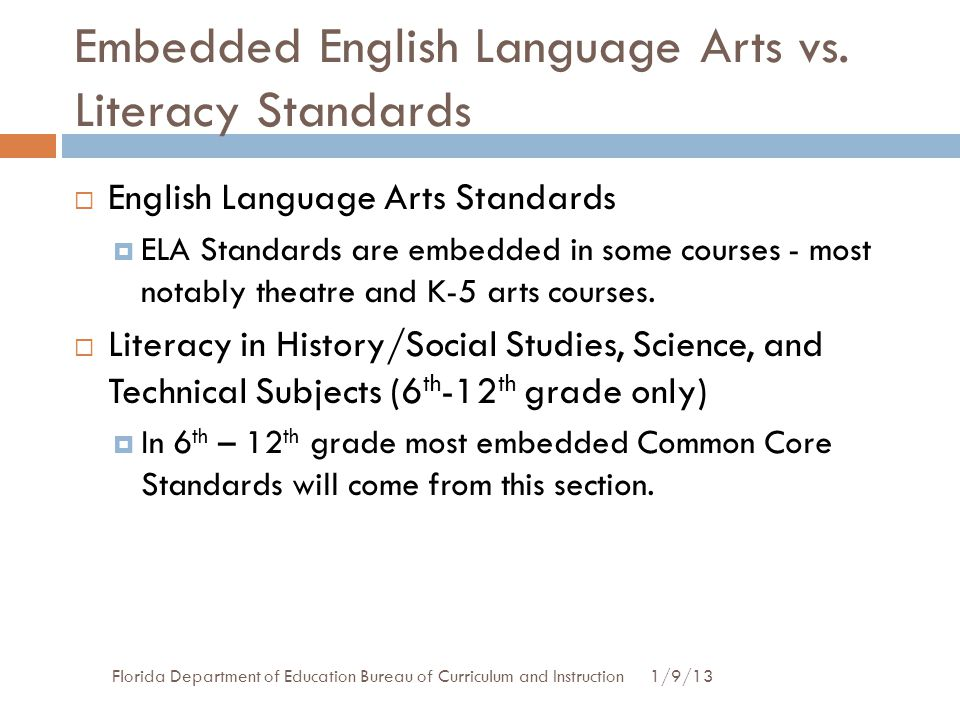 Embedded English Language Arts vs. Literacy Standards