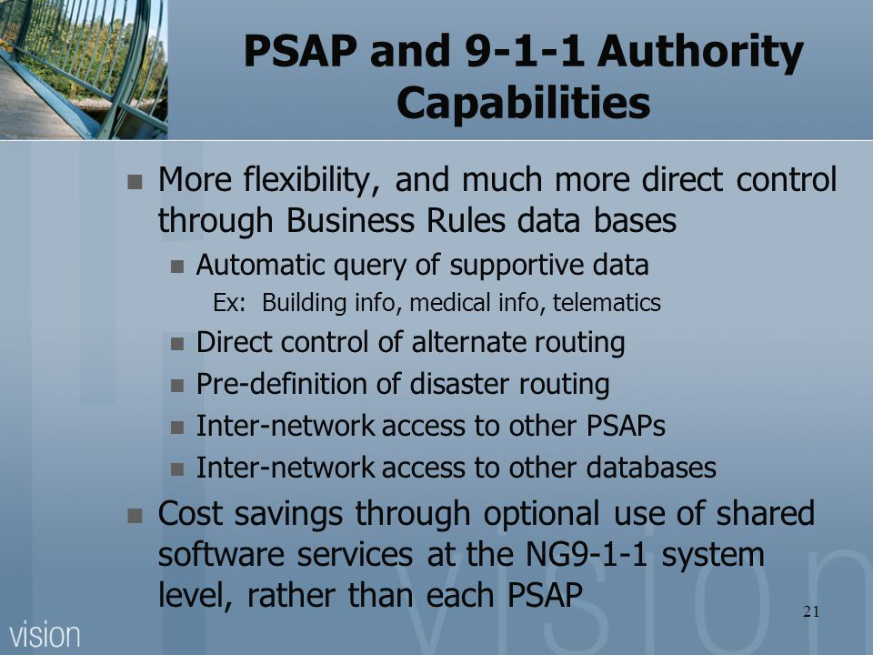 PSAP and Authority Capabilities