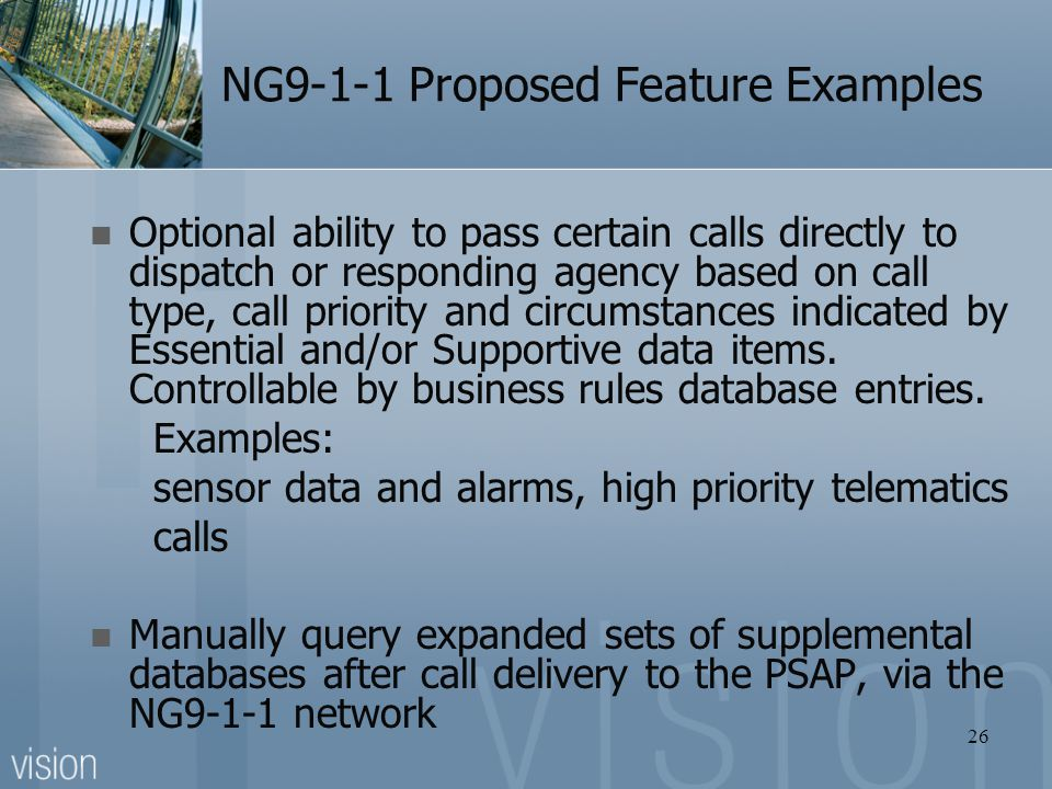 NG9-1-1 Proposed Feature Examples