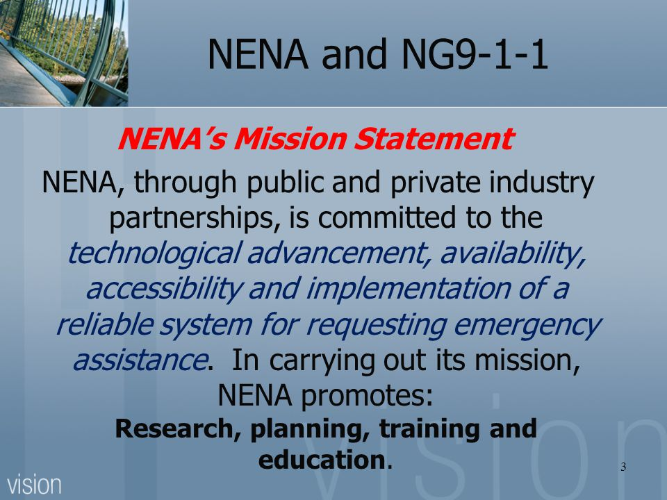 NENA's Mission Statement