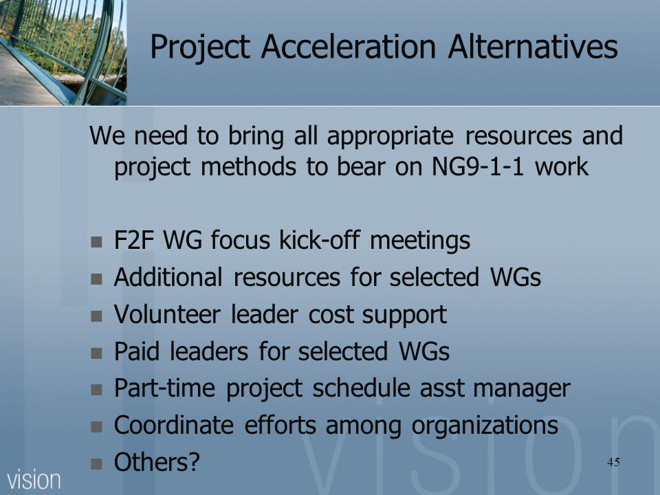 Project Acceleration Alternatives
