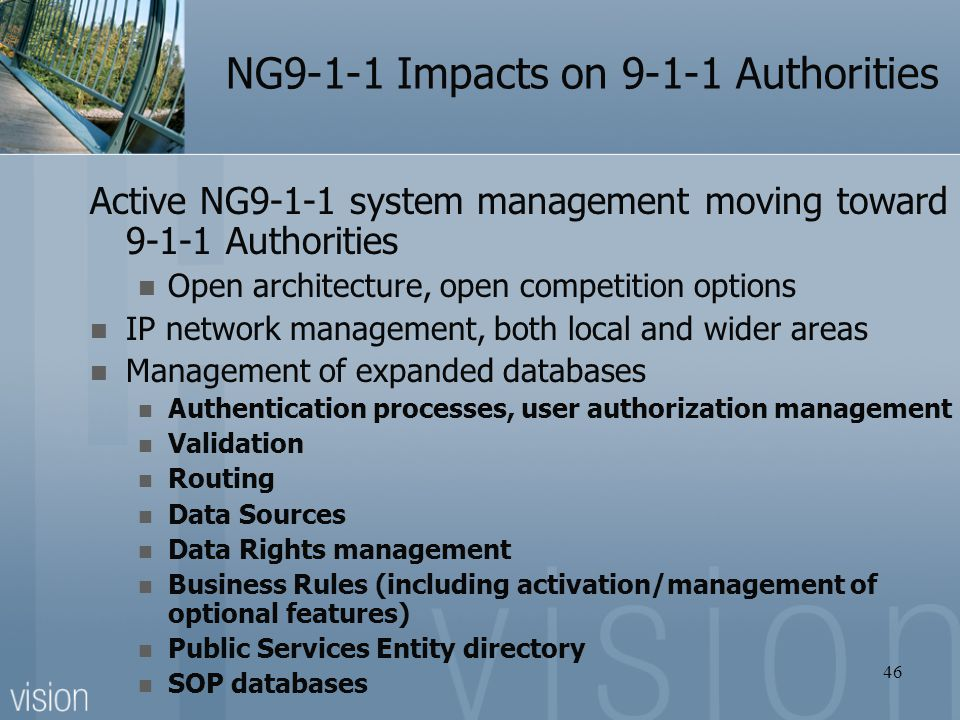 NG9-1-1 Impacts on 9-1-1 Authorities