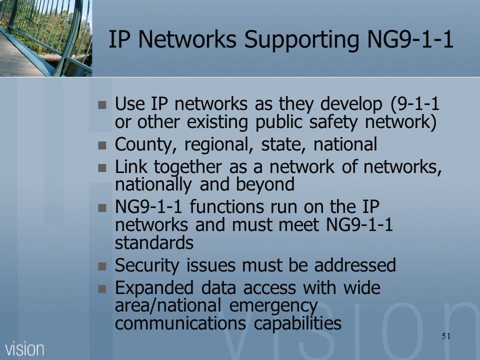 IP Networks Supporting NG9-1-1