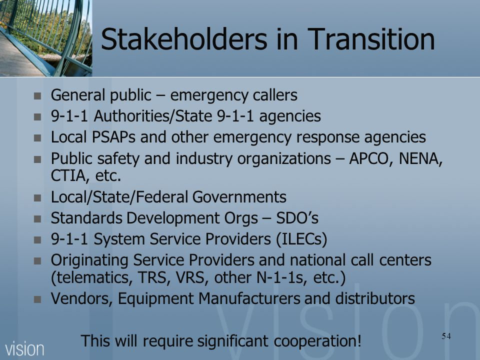 Stakeholders in Transition