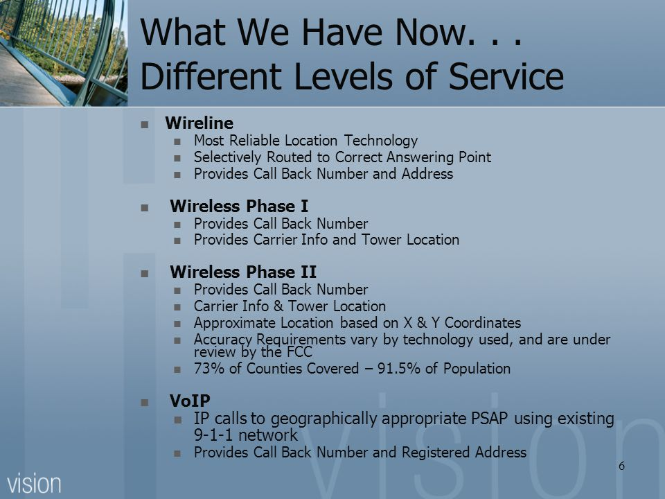 What We Have Now. . . Different Levels of Service