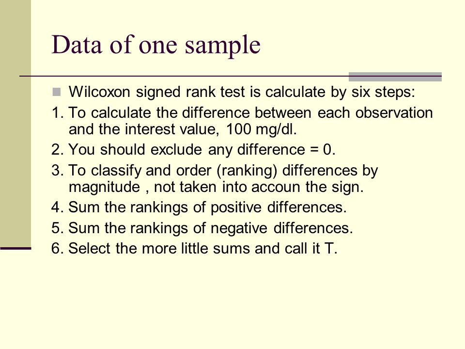 Data of one sample Wilcoxon signed rank test is calculate by six steps: