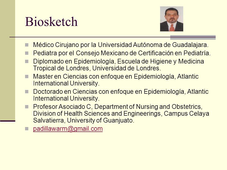 Biosketch Médico Cirujano por la Universidad Autónoma de Guadalajara.