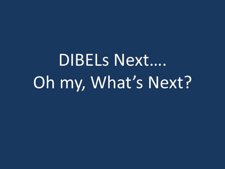 DIBELs Next…. Oh my, What's Next