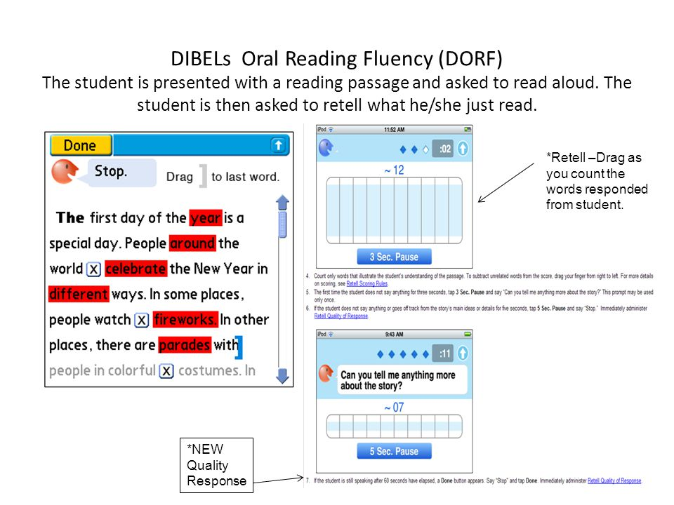 DIBELs Oral Reading Fluency (DORF) The student is presented with a reading passage and asked to read aloud. The student is then asked to retell what he/she just read.